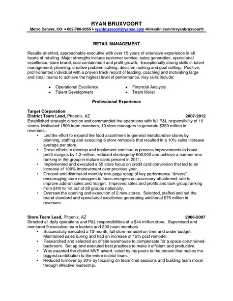 Sle Resumes For Retail by Sle Resume For Retail Store Manager 28 Images Resume Exle Retail Store Manager Resume Exles