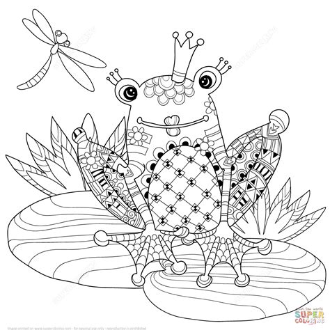 zentangle frog prince coloring page free printable