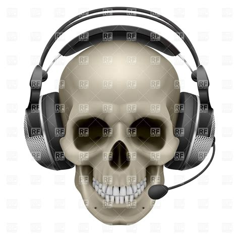 Skull Headphones help desk skull with headphones and mic 7400 objects