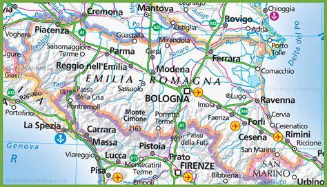 in romagna large map of emilia romagna