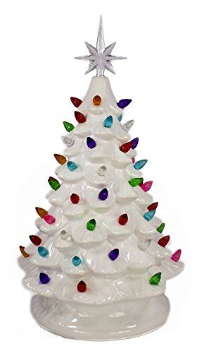ceramic lighted tabletop christmas tree is forever lighted tabletop ceramic tree 14 5 quot white tree multi color lights