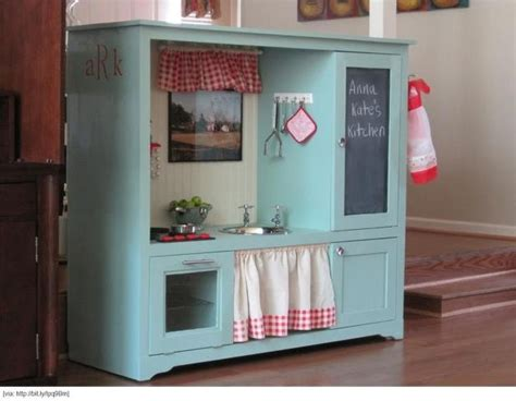 play kitchen upcycled from an tv cabinet genius