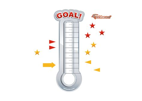 Dry Erase Goal Thermometer Large Removable Wall Graphic Wall Decal Shop Fathead 174 For Dry Thermometer Template