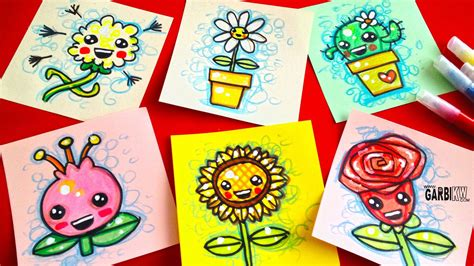 imgenes bonitas de kawaii para descargar how to draw cute flowers easy kawaii drawings by garbi