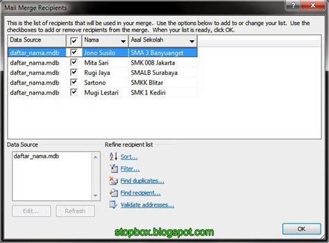 langkah langkah membuat mail merge untuk label langkah langkah membuat mail merge pada ms word catatan