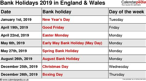 Calendar 2018 Showing Bank Holidays Bank Holidays 2019 In The Uk