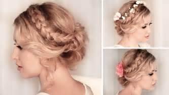 Hairstyle for medium long hair tutorial wedding prom youtube