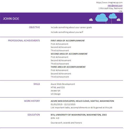 Azure Cloud Sle Resume 2016 Hello Cloud Challenge Microsoft Imagine