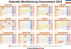 Kalender 2018 Doc Kalender 2018 Mecklenburg Vorpommern Ferien Feiertage