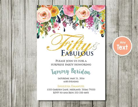 50th birthday colors 50th birthday invitation for flower water color