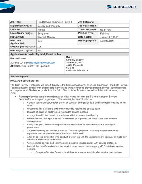 description level 1 field service technician fl