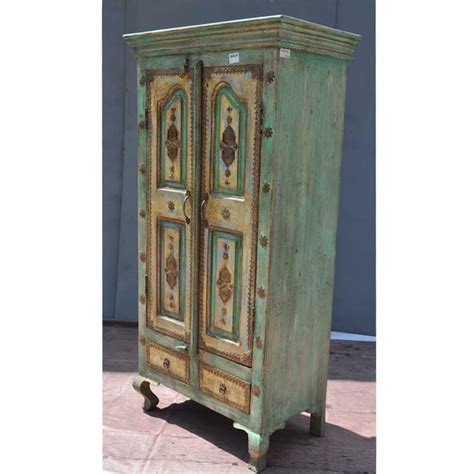 Clothes Wardrobe Armoire by Parisian Brass Antique Style Reclaimed Wood Clothes