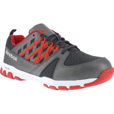reebok athletic shoes reebok sublite steel toe gray black work athletic shoe