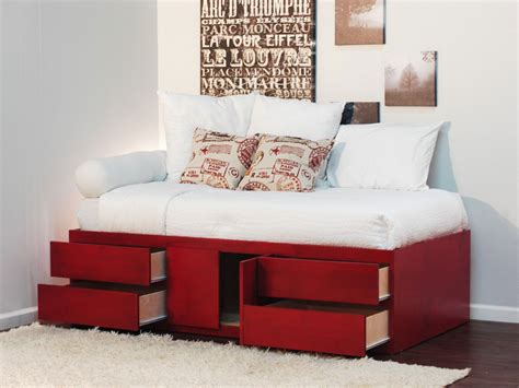 furniture bed design with storage drawers