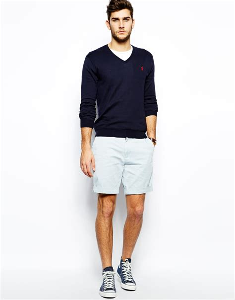 Jumper Polos Hoodie Biru polo ralph jumper with v neck in slim fit in blue for lyst