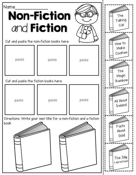 Montessori Template Fiction And Non Fiction Book Report Fiction Cut And Paste And St S Day On