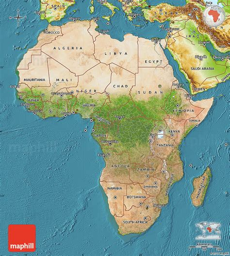 geographic map of africa satellite map of africa physical outside satellite sea