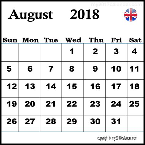 printable monthly calendar 2018 uk august 2018 calendar uk printable monthly calendars