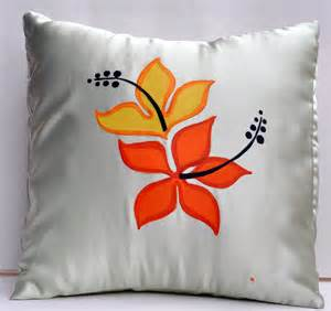 Painted Cushion Cover Designs Handpainted Cushion Cover Flowers Shopping