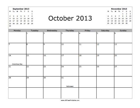 october 2013 calendar free printable allfreeprintable