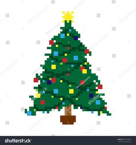 vector illustration pixel christmas tree stock vector