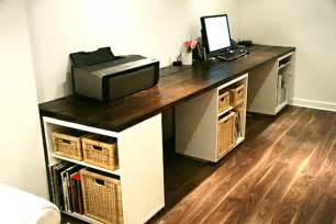 Build Your Own Computer Desk Ikea Large Diy Desk With Storage Shelves Decoist