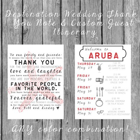 Destination Wedding Invitation Letter Destination Wedding Welcome Bag Letters And Guest Itinerary Timeline Of Events Onepaperheart