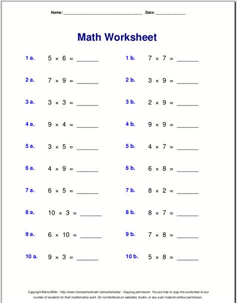 4th Grade Math Worksheets Pdf by Grade 4 Multiplication Worksheets