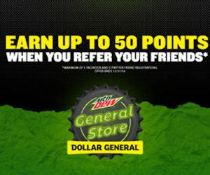 Dew General Store Sweepstakes - 50 free points with dollar general mtn dew general store free stuff freebies