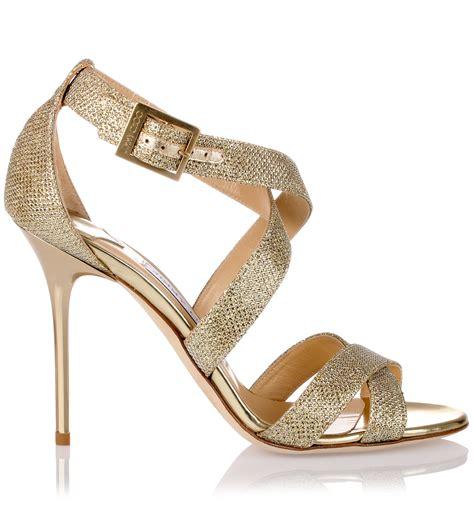 jimmy choo gold sandals jimmy choo lottie gold glitter fabric sandal in gold lyst