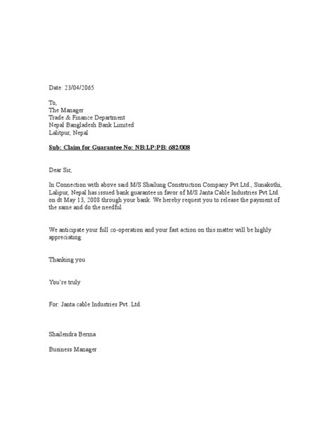Release Letter From Company Format bank guarantee letter format my