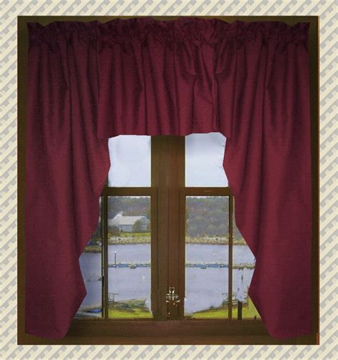 Burgundy Swag Curtains Solid Burgundy Wine Swag Window Valance