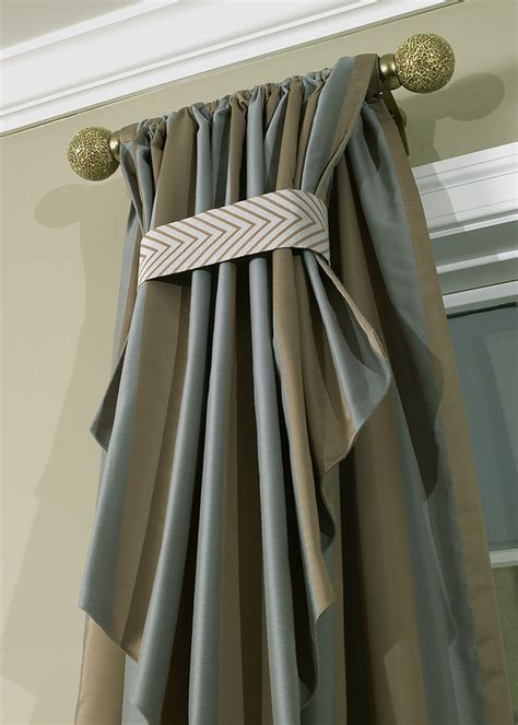 traditional drapery faux silk drapery panel with flip over detail
