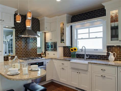 subway tile backsplashes hgtv 30 trendiest kitchen backsplash materials kitchen ideas