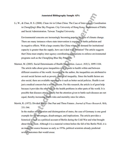 sle of annotated bibliography annotated bibliography exle purdue owl 28 images
