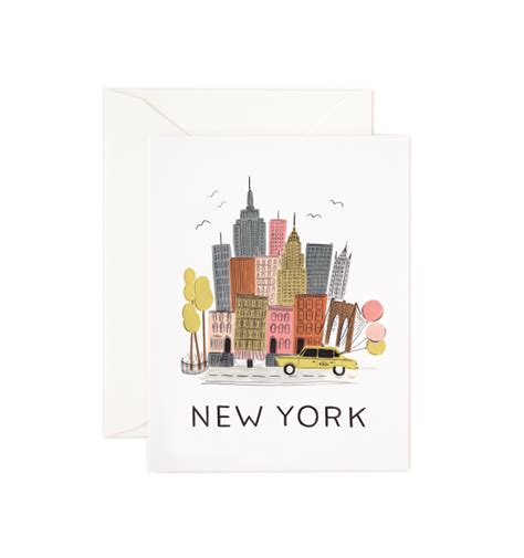 New York Gift Cards - new york skyline card greeting cards paper goods pink olive whimsical gifts for