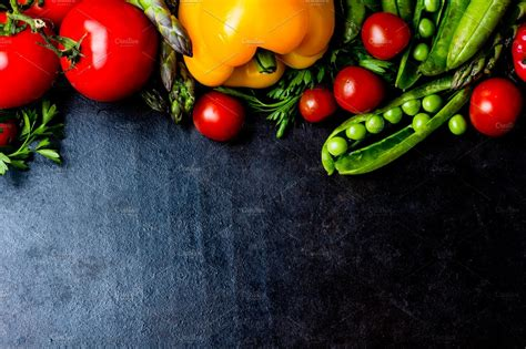 food background fresh vegetables  black top view