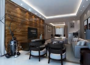 wood tv wall and wood table for interior design 3d house