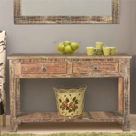 rustic reclaimed wood naturally distressed console table