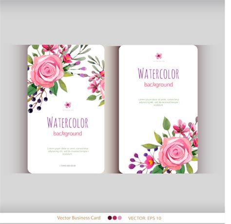 Beautiful Watercolor Flower Business Cards Vector Set 05 Vector Card Free Download Flower Business Card Template