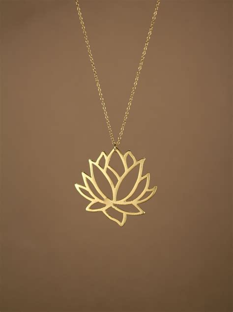 lotus necklace gold lotus flower necklace blooming flower