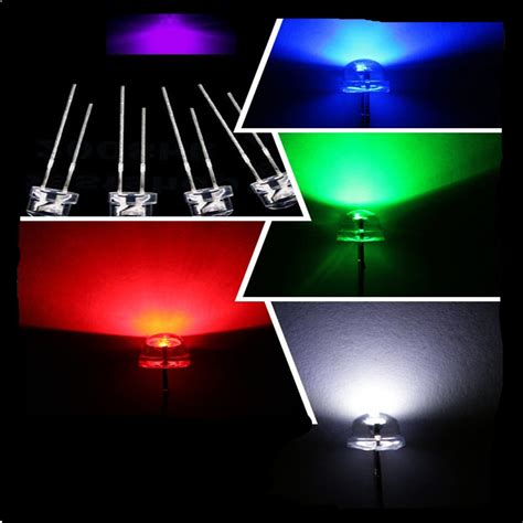 Blue Green Red White Purple Yellow Color 5mm Straw Hat Led Wide Angle Lights