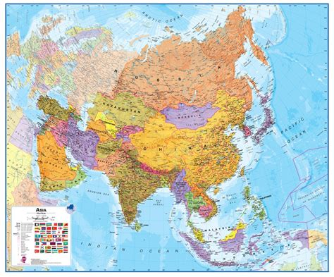 political asia map wall map of asia large laminated political map