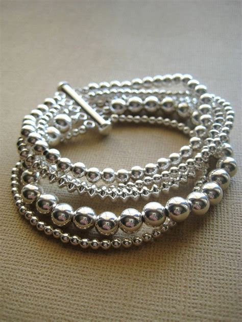 sterling silver beaded bracelet silver bracelet beaded bracelet sterling silver