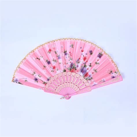 silk folding hand fans chinese fabric folding silk hand fan with flower wedding