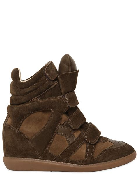 marant wedge sneakers lyst marant 201 toile bekett leather and suede
