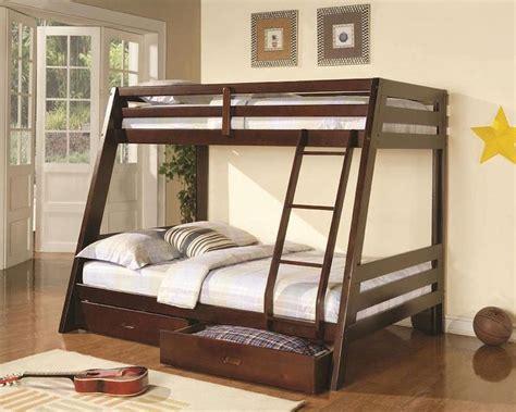 twin over double bunk bed coaster bunks twin over full bunk bed w two storage