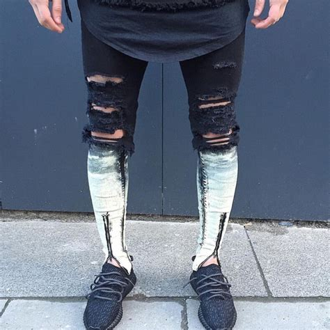 Size M Premium Dress Denim Pocket Zipper 070 ankle zipper ripped justin bieber fear of god style denim mens black