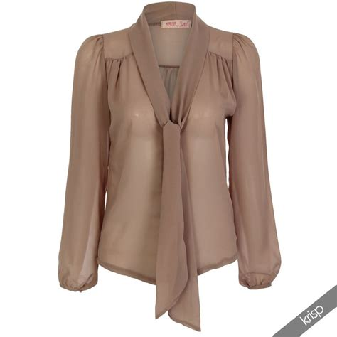Top Blouse Chiffon krisp womens see through chiffon blouse tie sleeve transparent top ebay