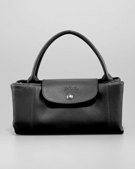 Longc Cuir Medium Black longch le pliage cuir medium handbag with black